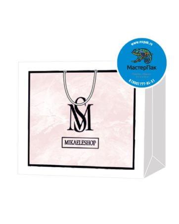 Пакет подарочный, бумажный, 40*30, 200 гр.,с люверсами, ручка шнур, с логотипом MIKAELESHOP, Москва